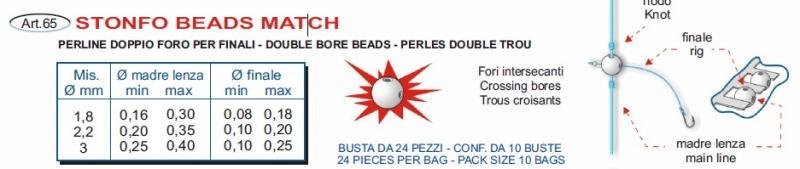 65 Stonfo Beads MATCH art Perline Doppio Foro per finali